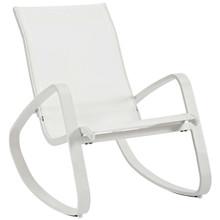 Traveler Rocking Outdoor Patio Mesh Sling Lounge Chair, Aluminum Metal Steel, White 14051
