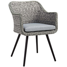 Endeavor Outdoor Patio Wicker Rattan Dining Armchair, Rattan Wicker Aluminum Metal, Grey Gray 14052