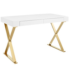 Sector Office Desk, Wood Metal Steel, White Gold 14053
