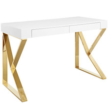 Adjacent Desk, Wood Metal Steel, White Gold 14054