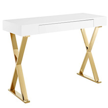 Sector Console Table, Wood Metal Steel, White Gold 14055