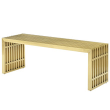 Gridiron Medium Stainless Steel Bench, Metal Steel Stainless Steel, Gold 14058