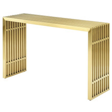 Gridiron Stainless Steel Console Table, Metal Steel Stainless Steel Glass, Gold 14059