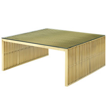 Gridiron Stainless Steel Coffee Table, Metal Steel Stainless Steel Glass, Gold 14060