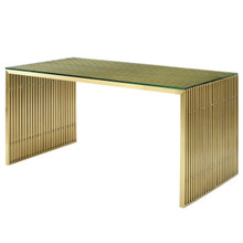 Gridiron Stainless Steel Dining Table, Metal Steel Stainless Steel Glass, Gold 14061