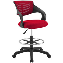 Thrive Mesh Drafting Chair, Fabric, Red 14067