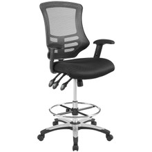 Calibrate Mesh Drafting Chair, Fabric, Black 14075