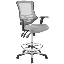 Calibrate Mesh Drafting Chair, Fabric, Grey Gray 14076