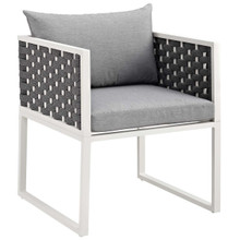 Stance Outdoor Patio Aluminum Dining Armchair, Aluminum Metal Steel, White 14084