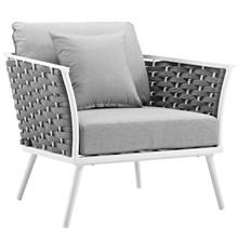 Stance Outdoor Patio Aluminum Armchair, Aluminum Metal Steel, White 14085