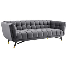 Adept Upholstered Velvet Sofa, Velvet Fabric, Grey Gray 14102