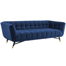 Adept Upholstered Velvet Sofa, Velvet Fabric, Navy Blue 14104