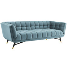 Adept Upholstered Velvet Sofa, Velvet Fabric, Blue 14105