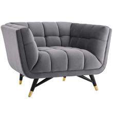 Adept Upholstered Velvet Armchair, Velvet Fabric, Grey Gray 14106
