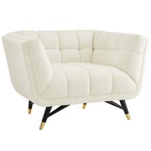 Adept Upholstered Velvet Armchair, Velvet Fabric, Ivory White 14107