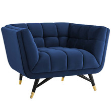Adept Upholstered Velvet Armchair, Velvet Fabric, Navy Blue 14108