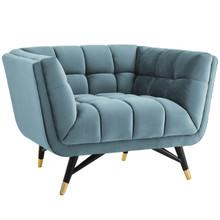 Adept Upholstered Velvet Armchair, Velvet Fabric, Blue 14109