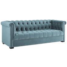 Heritage Upholstered Velvet Sofa, Velvet Fabric, Blue 14127