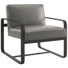 Astute Faux Leather Armchair, Faux Vinyl Leather, Grey Gray 14138
