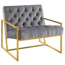 Bequest Gold Stainless Steel Upholstered Velvet Accent Chair, Velvet Fabric, Grey Gray 14140