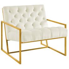 Bequest Gold Stainless Steel Upholstered Velvet Accent Chair, Velvet Fabric, Ivory White 14141