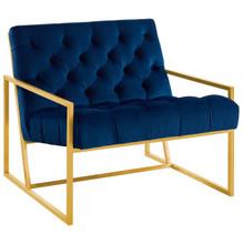 Bequest Gold Stainless Steel Upholstered Velvet Accent Chair, Velvet Fabric, Navy Blue 14142