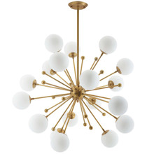 Constellation White Glass and Brass Pendant Chandelier, Brass Metal Steel, Gold 14147