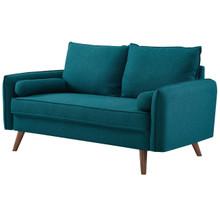 Revive Upholstered Fabric Loveseat, Fabric, Aqua Blue 14159