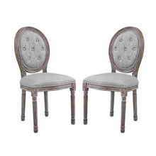 Arise Vintage French Upholstered Fabric Dining Side Chair Set of 2, Fabric Wood, Light Grey Gray 14179