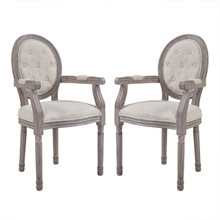 Arise Vintage French Upholstered Fabric Dining Armchair Set of 2, Fabric Wood, Beige 14180
