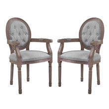 Arise Vintage French Upholstered Fabric Dining Armchair Set of 2, Fabric Wood, Light Grey Gray 14181