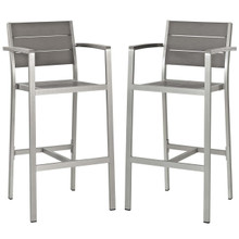Shore Bar Stool Outdoor Patio Aluminum Set of 2, Aluminum Metal Steel, Grey Gray 14240