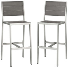 Shore Armless Bar Stool Outdoor Patio Aluminum Set of 2, Aluminum Metal Steel, Grey Gray 14241