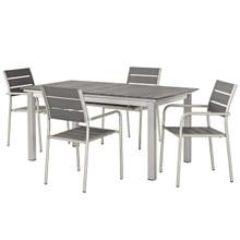 Shore 5 Piece Outdoor Patio Aluminum Outdoor Dining Set, Aluminum Metal Steel, Grey Gray 14244