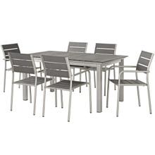 Shore 7 Piece Outdoor Patio Aluminum Outdoor Dining Set, Aluminum Metal Steel, Grey Gray 14246