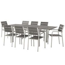 Shore 9 Piece Outdoor Patio Aluminum Outdoor Dining Set, Aluminum Metal Steel, Grey Gray 14248