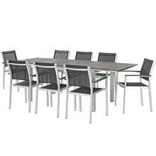 Shore 9 Piece Outdoor Patio Aluminum Outdoor Dining Set, Aluminum Metal Steel, Black 14249