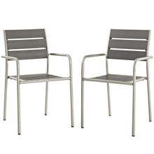 Shore Dining Chair Outdoor Patio Aluminum Set of 2, Aluminum Metal Steel, Grey Gray 14250