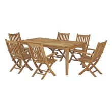 Marina 7 Piece Outdoor Patio Teak Outdoor Dining Set, Wood, Natural 14253
