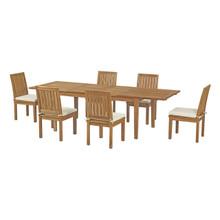 Marina 7 Piece Outdoor Patio Teak Outdoor Dining Set, Wood, White Natural 14254