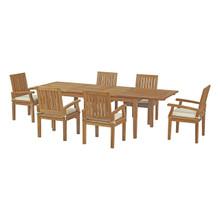 Marina 7 Piece Outdoor Patio Teak Outdoor Dining Set, Wood, White Natural 14269