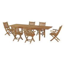 Marina 7 Piece Outdoor Patio Teak Outdoor Dining Set, Wood, Natural 14270