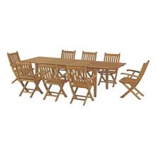Marina 9 Piece Outdoor Patio Teak Outdoor Dining Set, Wood, Natural 14271