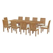 Marina 11 Piece Outdoor Patio Teak Outdoor Dining Set, Wood, White Natural 14272