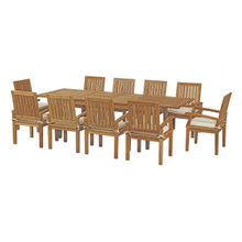Marina 11 Piece Outdoor Patio Teak Outdoor Dining Set, Wood, White Natural 14273