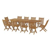 Marina 11 Piece Outdoor Patio Teak Outdoor Dining Set, Wood, Natural 14274