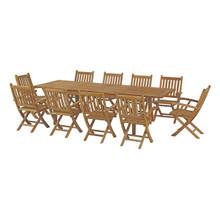 Marina 11 Piece Outdoor Patio Teak Outdoor Dining Set, Wood, Natural 14275
