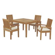 Marina 5 Piece Outdoor Patio Teak Outdoor Dining Set, Wood, White Natural 14276