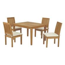 Marina 5 Piece Outdoor Patio Teak Outdoor Dining Set, Wood, White Natural 14277