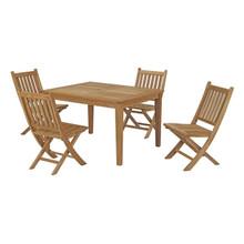 Marina 5 Piece Outdoor Patio Teak Outdoor Dining Set, Wood, Natural 14278